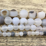 6mm White Frosted Agate Bead | Fashion Jewellery Outlet