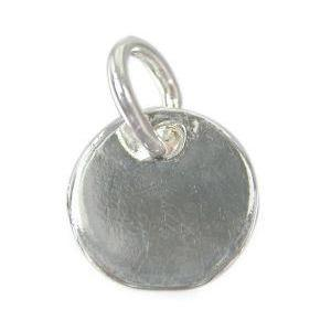 Sterling Silver Smooth Shiny Round Tag with Loop 8mm | Fashion Jewellery Outlet