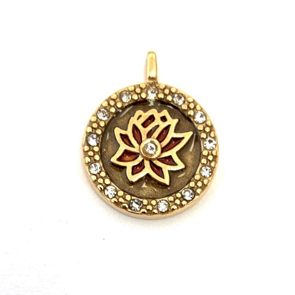 Gold Plated Lotus Flower CZ Steel Charm | Fashion Jewellery Outlet
