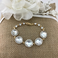 Crystal Collection, Almond Shape Gold Bridal Bracelet | Fashion Jewellery Outlet