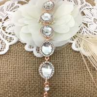 Crystal Collections, Almond Shape Rose Gold Bridal Bracelet | Fashion Jewellery Outlet