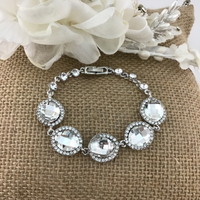 Crystal Collection, Almond Shape Silver Bridal Bracelet | Fashion Jewellery Outlet