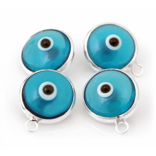 6mm Light Blue Sterling Silver Evil Eye Charm | Fashion Jewellery Outlet