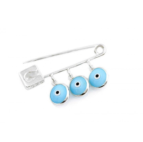 Sterling Silver Blue Evil Eye Safety Pin | Fashion Jewellery Outlet