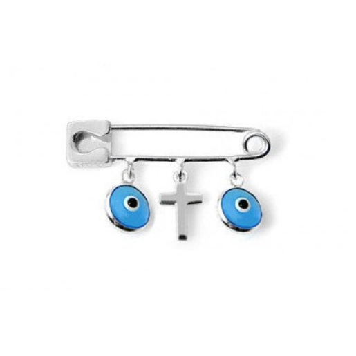 Sterling Silver Blue Evil Eye Safety Pin with Cross | Fashion Jewellery Outlet