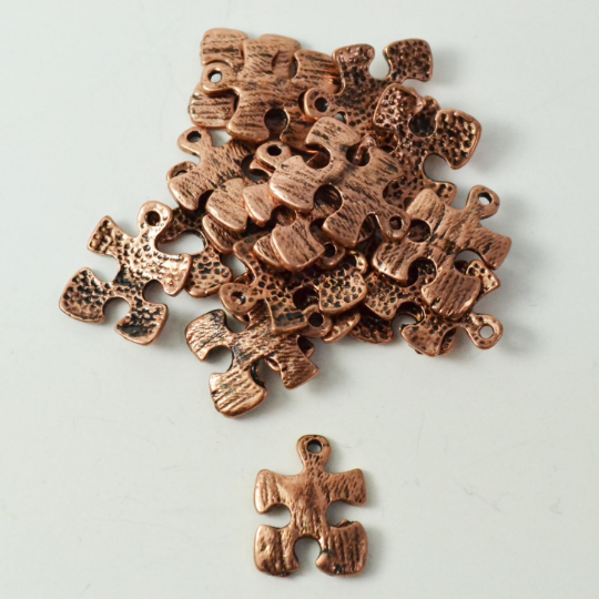 Copper Autism Puzzle Charm | Fashion Jewellery Outlet