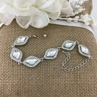 Crystal Collection, Diamond Shape Silver Bridal Bracelet | Fashion Jewellery Outlet