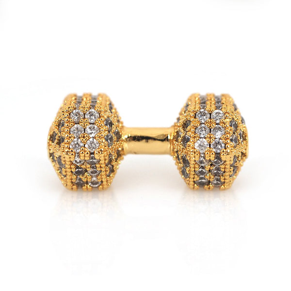 Cz Micro Pave Gold Dumb Bell Bead | Fashion Jewellery Outlet