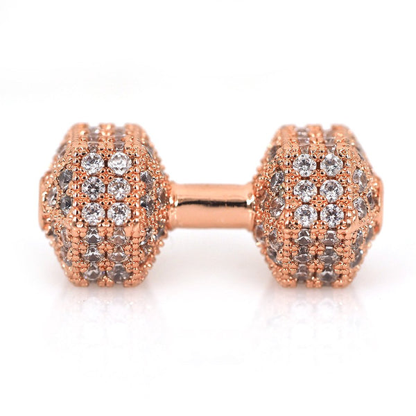 Cz Micro Pave Rose Gold Dumb Bell Bead | Fashion Jewellery Outlet