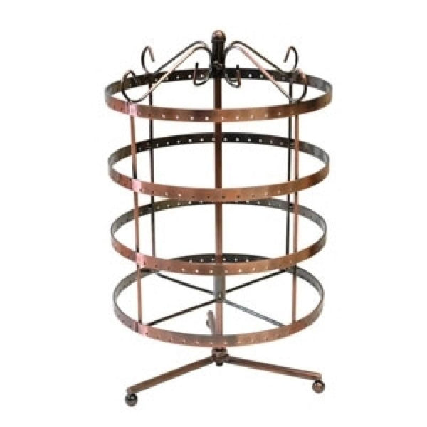Earring Display Round Rotate Rack 192 Holes Copper | Fashion Jewellery Outlet