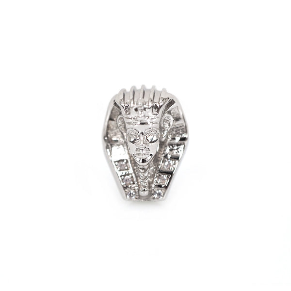 Cz Pave, Micro Pave Silver Egyptian Head Bead