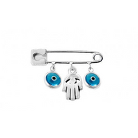 Sterling Silver Hamsa and Evil Eye Safety Pin | Fashion Jewellery Outlet