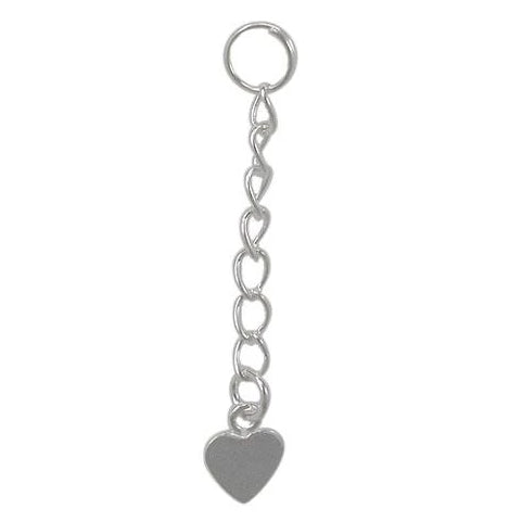 Sterling Silver Shiny Extension with Heart 1 inch | Fashion Jewellery Outlet