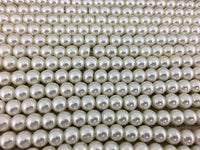 6mm Glass Pearls, White | Fashion Jewellery Outlet