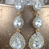 Crystal 3 Tier Teardrop Earrings, Gold | Fashion Jewellery Outlet