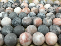 8mm Frosted Pink Zebra Jasper Bead | Fashion Jewellery Outlet