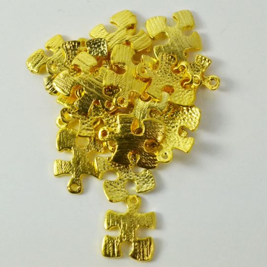 Gold Autism Puzzle Charm | Fashion Jewellery Outlet
