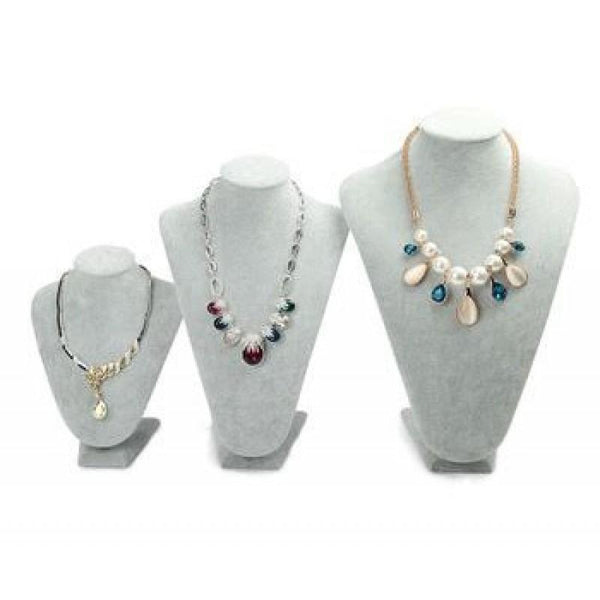 Small Grey Velvet Necklace Display | Fashion Jewellery Outlet