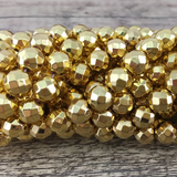 8mm Gold Faceted Hematite Bead | Fashion Jewellery Outlet