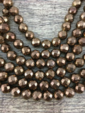 8mm Bronze Faceted Hematite Bead | Fashion Jewellery Outlet