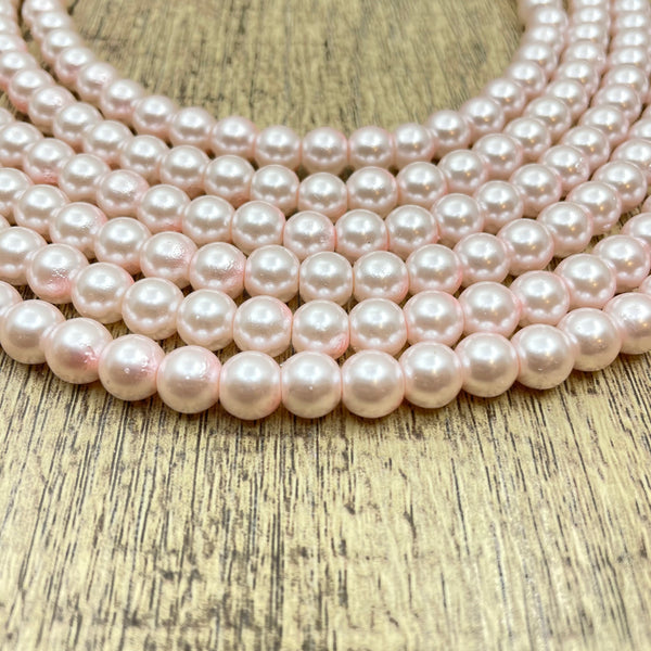8mm Faux Glass Pearl Bead, Blush Pink