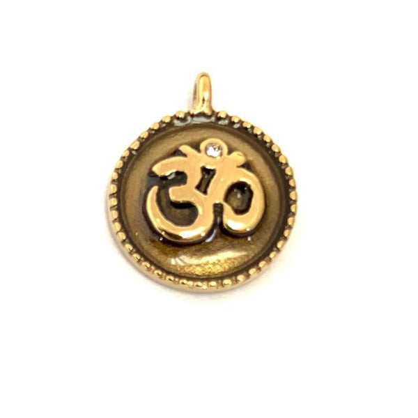 Gold Plated Om Stainless Steel CZ Charm | Fashion Jewellery Outlet