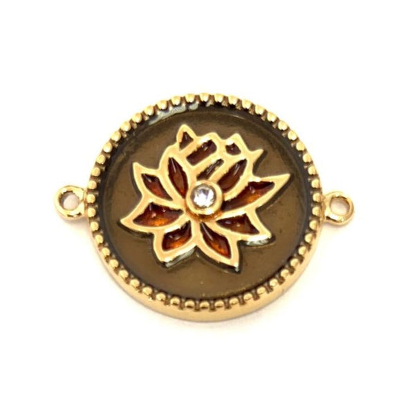 Gold Plated Lotus Flower CZ Steel Connector | Fashion Jewellery Outlet