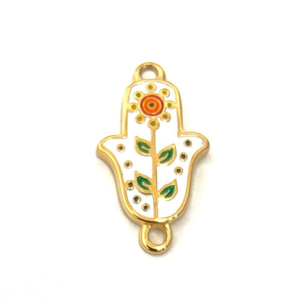 White Enamel Gold Plated Steel Hamsa Connector | Fashion Jewellery Outlet