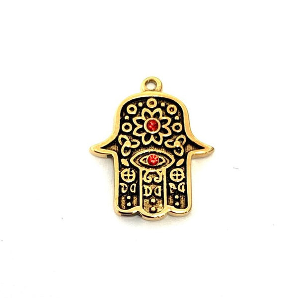 Gold Plated CZ Steel Hamsa Hand Charm | Fashion Jewellery Outlet