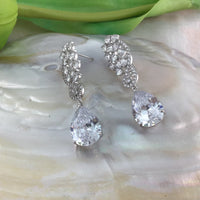 Tear drop Bridal Cubic Zirconia Earrings, 18K Plated | Fashion Jewellery Outlet