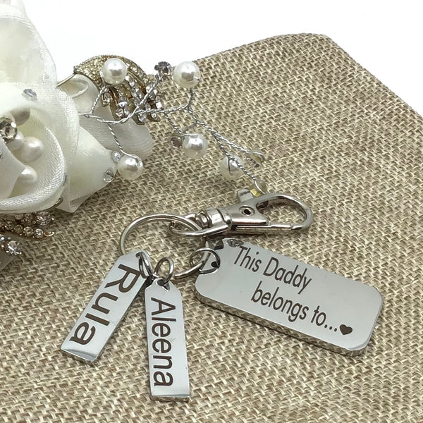 This Daddy Belongs to.. with Kids Name Tags Custom Keychain | Fashion Jewellery Outlet