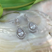 Oval Shape Drop Earring, Bridal Cubic Zirconia Earrings, 18K Plated | Fashion Jewellery Outlet