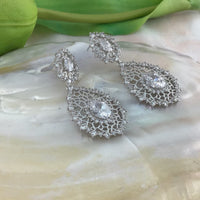 Teardrop Bridal Cubic Zirconia Earrings, 18K Plated | Fashion Jewellery Outlet