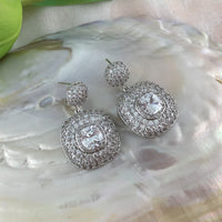 Silver Bridal Cubic Zirconia Earrings, Square, 18K Plated | Fashion Jewellery Outlet