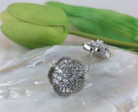 Flower Shape Studs Bridal Cubic Zirconia Earrings, 18K Plated | Fashion Jewellery Outlet