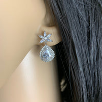 Silver Bridal Cubic Zirconia Earrings, Flower | Fashion Jewellery Outlet
