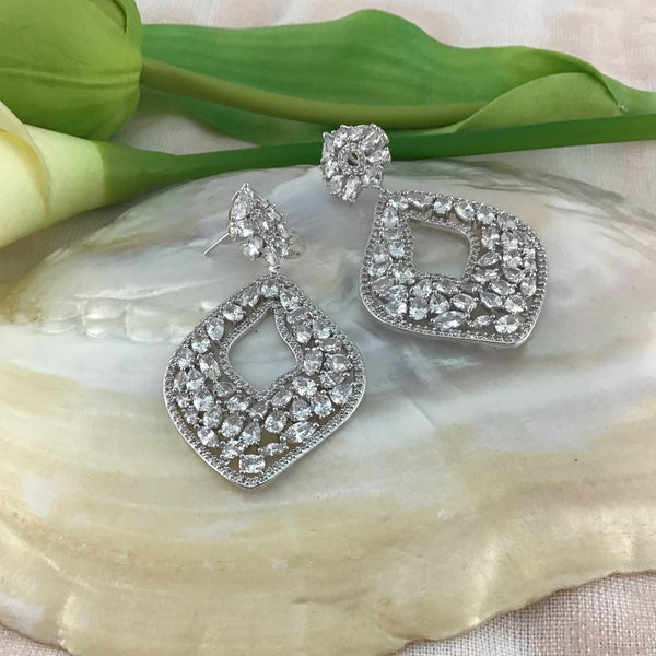 Bridal Cubic Zirconia Earrings, 18K Plated with Black & Clear stone Black OR Silver