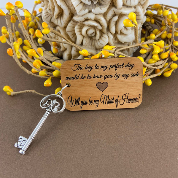 Maid of Honour Gift, Wood Tag | Fashion Jewellery Outlet