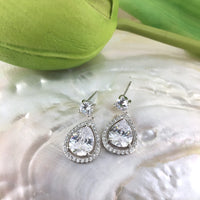 Bridal Cubic Zirconia Halo Tear Drop Earrings, 18K Plated | Fashion Jewellery Outlet