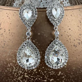 Crystal Double Teardrop Earrings, Silver | Fashion Jewellery Outlet