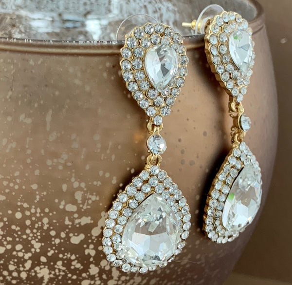 Crystal Double Teardrop Earrings, Gold | Fashion Jewellery Outlet