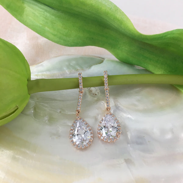Bridal Cubic Zirconia Tear Drop Earrings, 18K Plated | Fashion Jewellery Outlet