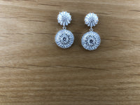 Silver Bridal Cubic Zirconia Earrings, Round, 18K Plated | Fashion Jewellery Outlet