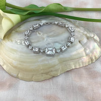 Cubic Zirconia Round-Square Bridal Bracelet | Fashion Jewellery Outlet