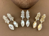 Crystal Baguette Marquise Earrings, Silver | Fashion Jewellery Outlet