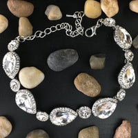 Crystal Collection, Teardrop Shape Silver Bridal Bracelet | Fashion Jewellery Outlet