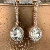 Crystal Diamond shape Earrings, Rose Gold | Fashion Jewellery Outlet