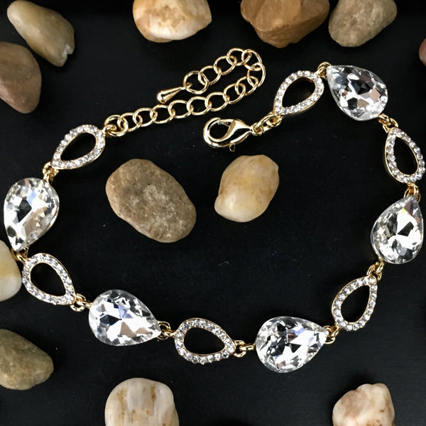 Crystal Collection, Open Teardrop Shape Gold Bridal Bracelet | Fashion Jewellery Outlet