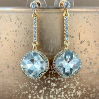 Crystal Diamond shape Earrings, Gold | Fashion Jewellery Outlet