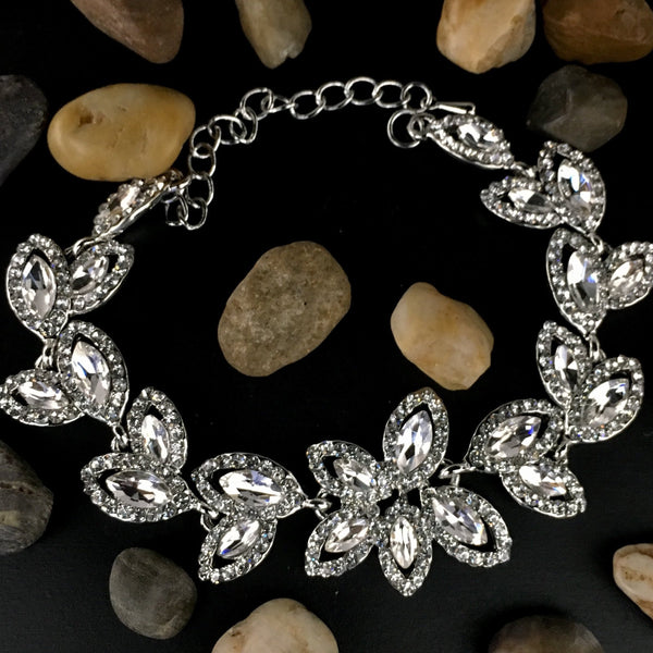 Crystal Collection, Floral Theme Designer Inspired Silver Bridal Bracelet | Fashion Jewellery Outlet